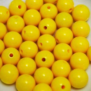 Beads, Acrylic, Yellow, Spherical, Diameter 10mm, NA, 25 Beads, (SLZ0082)